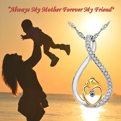 Mothers Day Gift 925 SS Mom - Child Pendant Necklace New MOM Best Gift w Box