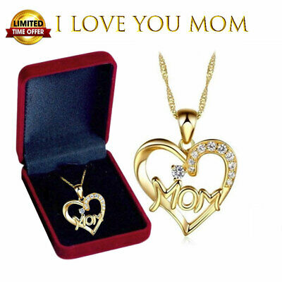 Mothers Day Gift 925 Sterling Silver MOM Heart Pendant Necklace with Gift Box