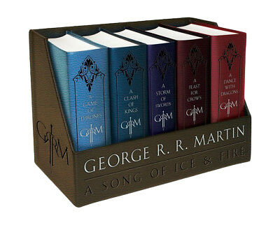 GAME OF THRONES by George RR Martin LEATHER BOUND EDITIONS BOXED SET Books 1-5