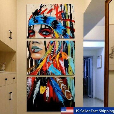 3PcsSet Indian Woman Abstract Canvas Print Art Painting Picture Home Wall Decor