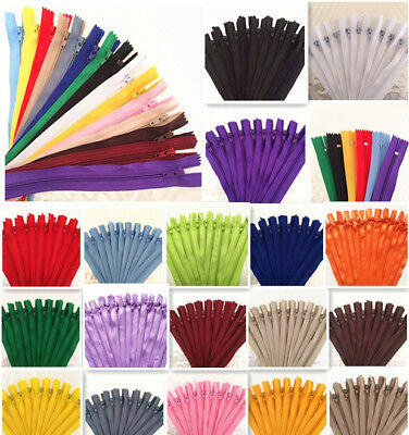 10pcs 5-20 Inch  Nylon Coil Zippers Tailor Sewer Craft Crafters -FGDQRS