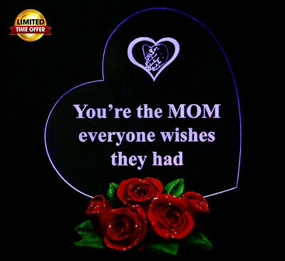 Mothers Day Gift Heart Shaped LED Light with Roses Gift for MOM 2 DAY SHiPPING