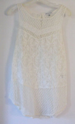 American Eagle Outfitters Sleeveless Mesh and Lace Top White Cotton Blend Sz XL