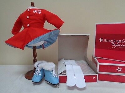 NEW RETIRED American Girl Doll Maryellens1950s Ice Skating Outfit Blue Skates
