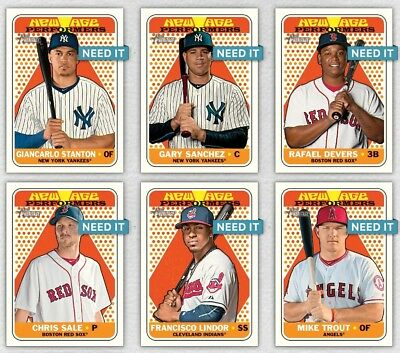 2018 NEW AGE PERFORMERS AMERICAN LEAGUE SET OF 6 7 - 12 Topps Bunt Digital