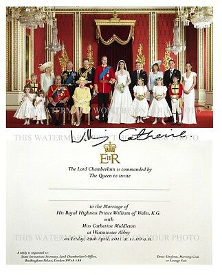 PRINCE WILLIAM - CATHERINE KATE MIDDLETON ROYAL WEDDING PHOTO INVITE SIGNED RPT