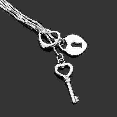 925 Sterling Silver Fashion Jewelry Heart - Lock - Key Necklace for Mothers Day