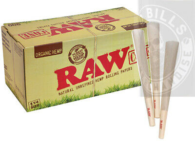 100 Pack - RAW Organic Hemp 1 14 Cones Authentic Pre-Rolled Cones w Filter