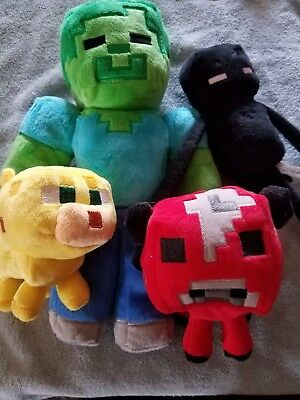 minecraft plush 4 pc gently used stuffed animals
