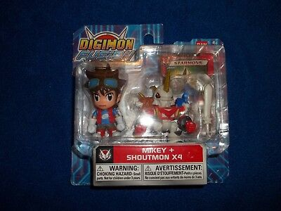 ShoutmonX4 And Mikey Digimon Figure Two Pack Rare Hard to Find Fusion