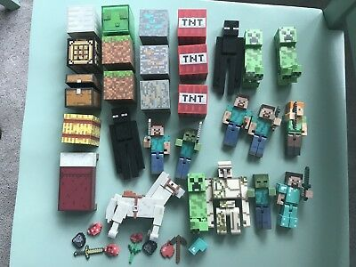 Minecraft figures Blocks People Horse Accessories Lot of 35 Excellent Cond
