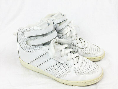 Supra Mens White Leather High Top Lace Up Sneakers Shoes Dior 43 43-5 44