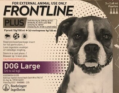Frontline Plus For Large Dogs 45-88 lbs 20-40kg  3 Month Supply New In Box