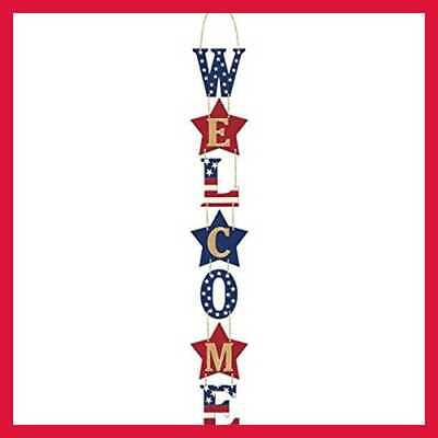 Americana Fourth Of July Party Welcome Hanging Vertical Sign Decoration Multi