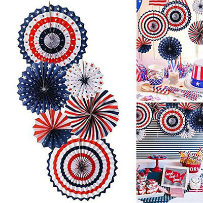 6Pcs 4th of July Patriotic Paper Fan Hanging Decorations Party Birthday reusable
