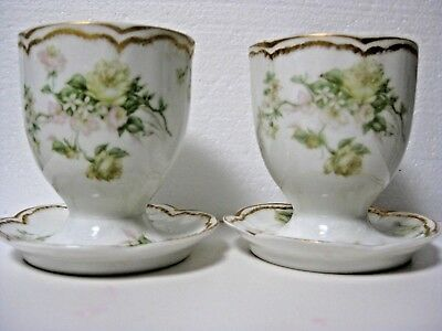 Pair of Antique Haviland Limoges Double Gold Cabbage Rose Footed Double Egg Cup