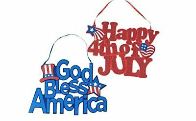 Americana Fourth Of July Party Hanging Glitter Signs Decoration 12 4TH OF JULY
