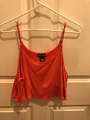 Wet Seal Pink Crop Top Size L Comes with Support Bra