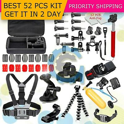 52 PCS Accessories Head Chest Bike Mount Kit for GoPro HERO 543- Cameras
