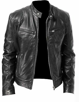 026bbdf0f3a6 Men Genuine leather jacket black motorcycle biker vintage classic sword