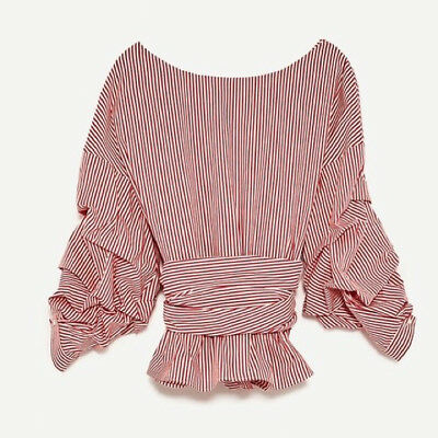 Zara Striped Wrap Top - Size S