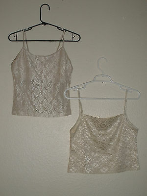 2 womens beautiful cream colored lace Wet Seal spaghetti strapped tops - Size M