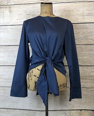 Zara Woman Blue Tie Front Long Sleeve Blouse Top Size M