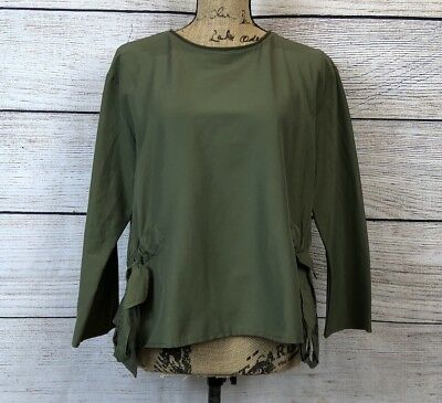 Zara Collection Womens Olive Green Long Sleeve Blouse Top Side Bow Tie Large