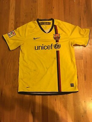 Nike Mens FC Barcelona Away Soccer Jersey 266787-760 Yellow 200809 Sz Large L