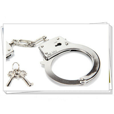 1 x Police Handcuffs Silver STEEL Double Lock REAL Hand Cuffs -2 Keys Authentic