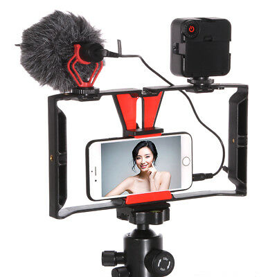 Cell phone Video Camera Stabilizer Cage Rig - 49 Led Light - BOYA Microphone Mic