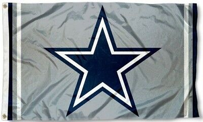 NEW Dallas Cowboys Grey Flag Blue Star Large 3X5 NFL Banner FREE SHIPPING