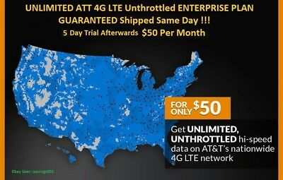 ATT 4G LTE Unlimited HOTSPOT DATA UNTHROTTLED NO CAPS 100 Unlimited 50Month