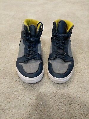 Supra Vaider S28199 Mens Laced Leather - Chambray Trainers Navy Yellow