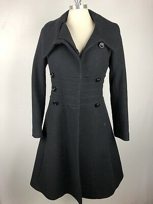 Reiss Fit n Flare Black Triple Double Button Coat XS as seen on Kate Middleton