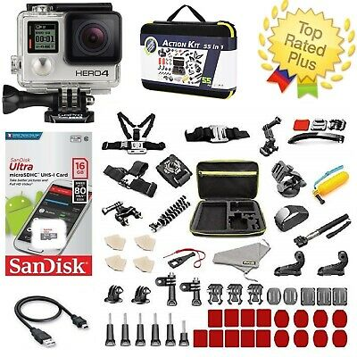 GoPro Hero 4 Silver TouchScreen 12MP - Complete Sports Accessory Kit 40- PCS