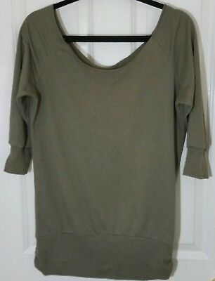 Wet Seal Womens Cotton Polyester knit Top 34 Sleeve Green Size Medium