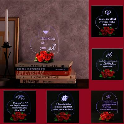 Mothers Day Birthday Gift For Girlfriend Him Her Wife Mom Heart Love LED Light