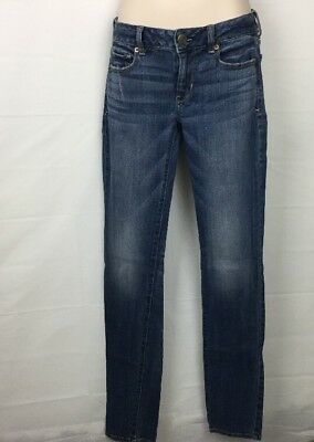 American Eagle Outfitters AEO Blue Denim Jeans Skinny Stretch Size 0 Long16