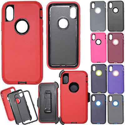 For iPhone X XR XS Max Shockproof TPU Case Cover Belt Clip Fit Otterbox Defender