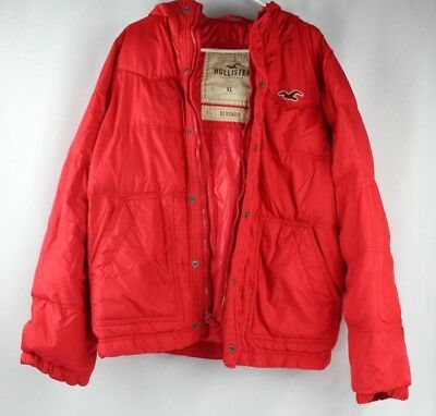 Hollister Co-Mens Redondo Red Puffy Puffer Bomber Hooded Jacket XL B-156