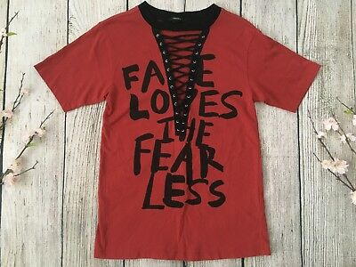 FOREVER 21 red short sleeve lace up shirt top SMALL