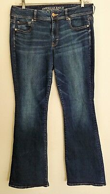 American Eagle Outfitters Jeans Size 14 long Distressed look Dark Wash Pre Owned