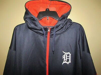 MAJESTIC Detroit TigersMen BIG - TALL 3XHooded 12 Zip Sweatshirt-NavyOrange