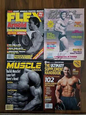 Lot of 4 Muscle Magazines- ARNOLD SCHWARZENEGGER covers Flex and Planet Muscle
