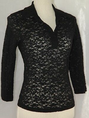 Wet-Seal 34 Sleeve Sheer Lace Stretch Black V-Neck Collar Girls Large N-W-O-T-