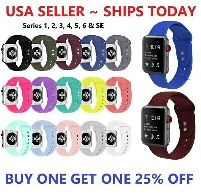 Silicone Strap Band for Apple Watch Sports Series 6 5 4 3 2 1 SE 38404244mm