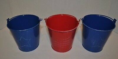 Lot of 3 4th of July BlueRed w White Wash Patriotic Pails Star - Flag Print