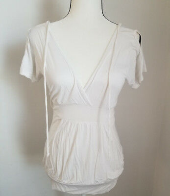Wet Seal Cream Low V Cut Top With Pockets Size Small