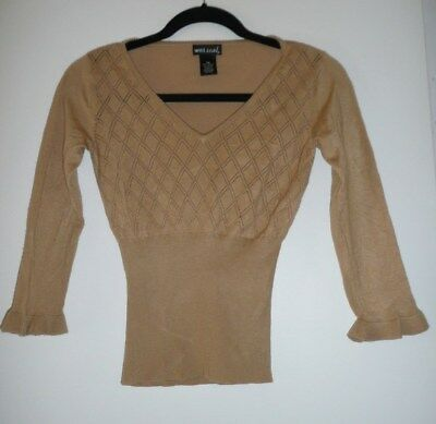 Wet Seal Womens Juniors Tan Knit V-neck Sweater Blouse Top Size XS